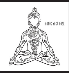 ornament beautiful card with yoga man vector image