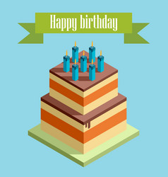 Picture with birthday cake vector