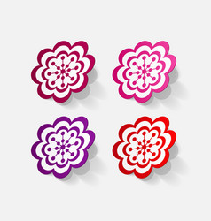 Realistic paper sticker flowers vector
