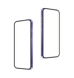 realistic purple smartphone mockup on white vector image