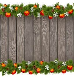 Seamless Christmas Old Board with Red Balls vector