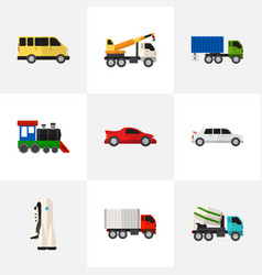 set of 9 editable automobile flat icons includes vector image
