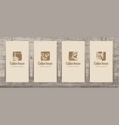 set of business cards on the theme of coffee house vector image
