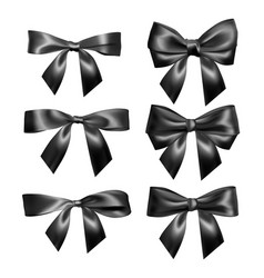 Set of realistic black bow element for decoration vector
