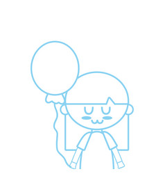 silhouette beauty girl with balloon and hairstyle vector image