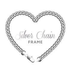 silver chain heart love border frame vector image
