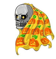 Skull with Pumpkin fabric vector image