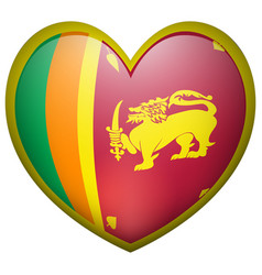 Sri lanka flag on heart badge vector