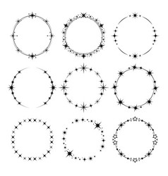 stars frame circle shapes with stardust round vector image