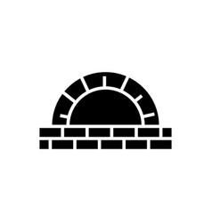 Stone oven icon black sign vector