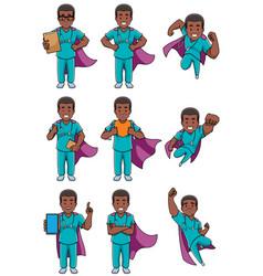 super nurse african male set vector image