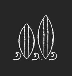 Surfboard chalk white icon on dark background vector