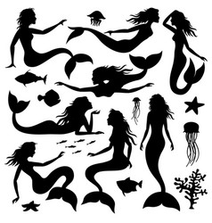 Swimming underwater mermaid black vector