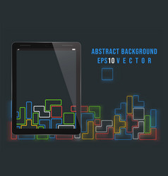 tablet pc on old video game background vector image