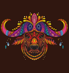 tangle african buffalo colorful isolated vector image