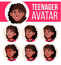 teen girl avatar set black afro american vector image
