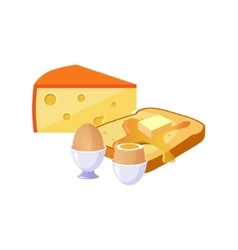 Toast Cheese And Egg Breakfast Food Elements vector