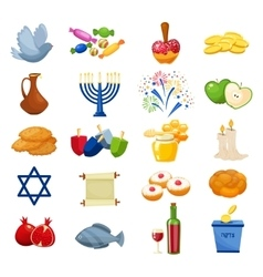 various symbols and items hanukkah celebration vector image