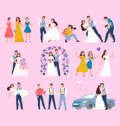 wedding day color set vector image