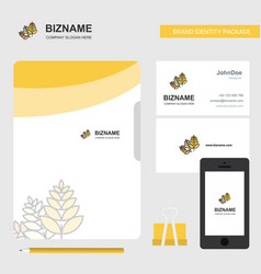 wheat business logo file cover visiting card and vector image