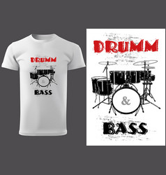 White t-shirt with drums vector