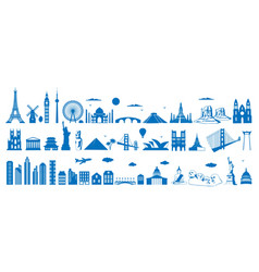 world famous architecture landmarks silhouettes vector image