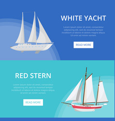 World yachting posters with luxury sailboats vector