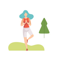 young woman doing yoga exercise in park girl vector image