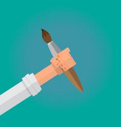 art paintbrush in artist male hand vector image