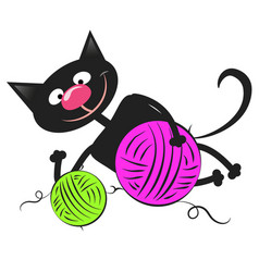 black cat with a ball of wool vector image vector image