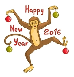 Card with funny monkey symbol of 2016 new year vector