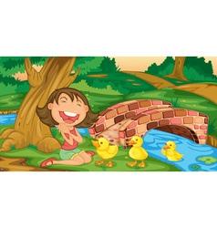 Girl meets ducklings vector image vector image