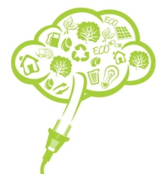 Green plug - electric power concept vector image vector image