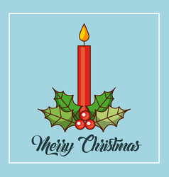 merry christmas candles burning holly berry vector image