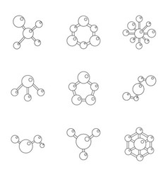 molecular structure icons set cartoon style vector image