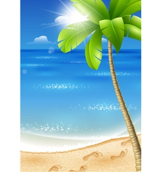 Tropical beach with palm tree vector
