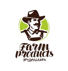 farm products logo or label farmer icon vector image vector image