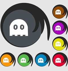 Ghost icon sign symbols on eight colored buttons vector