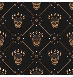 gold skull seamless pattern Art Deco Dark vector image