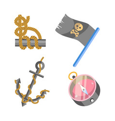 marine nautical equipment and ship icons vector image