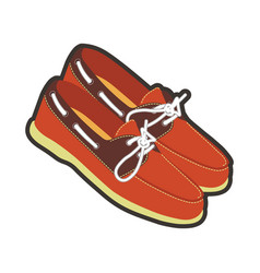 mens leather moccasins with laces and neat vector image