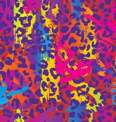 neon splatter animal print vector image