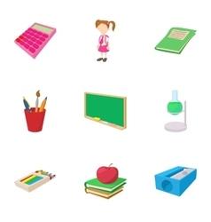 Schooling icons set cartoon style vector