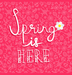spring season card quote on doodle background vector image