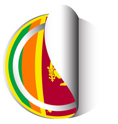 sri lanka flag on round sticker vector image vector image