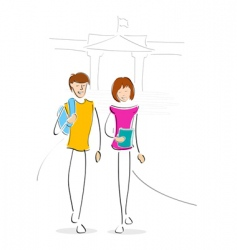 youngsters going to collage vector image vector image
