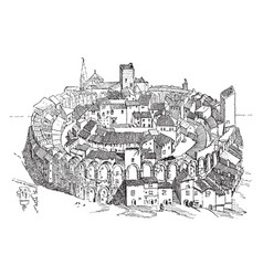 amphitheater in arles built in the middle ages vector image vector image