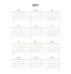 Calendar 2017 year template vector