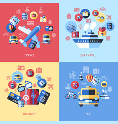 digital blue red travel icons vector image vector image