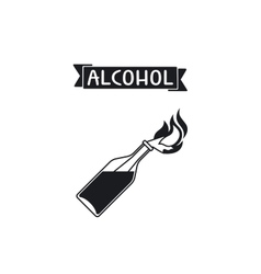 Isolated icon glass bottle with alcohol vector image